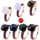 2016 Newest Black & Rose Gold Plated With Blue Zircon Ring 14 Colors