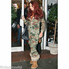 Womens Celebrity Inspires Camouflage Army Print Onesie Zip All In One Jumpsuit