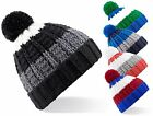 Mens Womens Warm Chunky Knit Soft Stripy Bobble Pom Pom Ski Hat Beanie