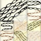 2m DIY Unfinished Iron Textured Cable Chains Antique Copper Brass Silver Black