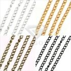 New 4m 0.8x3x4mm Iron Antique Brass Silver Gold Black DIY Curb Unfinished Chains