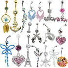 Lady Cute Butterfly Dangle Surgical Steel Barbell Piercing Navel Ring Belly Bar