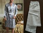 2-piece Set Mens Satin Silk Pajama Pants + Kimomo Robe Gown Multicolor US Seller