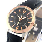 Waterproof Numerals Round Rose Gold Silver Dial Leather Band Women Dress Watches