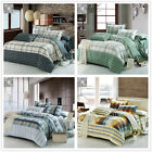 Checked DB/QB/King Size Bed Linen Quilt Doona Cover Set New Cotton Fitted Sheets