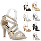 Party Damen Sandaletten Glitzer High Heels Stilettos Schnallen 78757 New Look