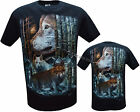 Wolf Pack Native American Indian Eagle Biker T- Shirt Front & Back Print M - XL