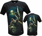 Wolf Pack Native American Indian Glow In The Dark T- Shirt Front & Back Print
