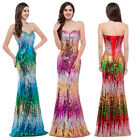 UK Sz 6-20 NEW Sequined Long Wedding Prom Evening Bridesmaid Gown Party Dresses
