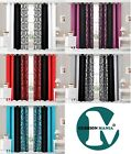 eyelet ringtop curtains DAMASK 3 TONE fully lined RED,B&W,SILVER,TEAL,PURPLE