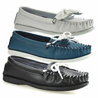 Ladies Womens Leather Flat Slip On Pumps Fringe Trim Moccasin Loafers Shoes Size