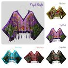 Peacock Silk Shawl Chinese Velvet Beaded Shawl Scarf Wrap with Draping Tassels