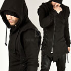 NS New Mens Fashion Casual Wear Tops Black SIDE EYELET ASYMMETRIC ZIP-UP HOODIE