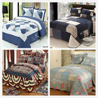 Checked Queen/King Size Patchwork Coverlet Quilted Bedspreads Set Bed Linen New
