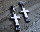Long Earrings Cross Drop Dangle Stud Statement Jewelry Gold Silver Gray Tone