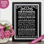 PERSONALISED Wedding Thank You Signs - Our Family & Friends Thankyou Thanks