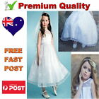 White Communion Confirmation Girls Dress Wedding Flower Girl Dress Size 6 to 14