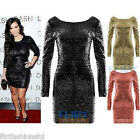 Womens Sequin Mini Dress Kardashian Bodycon Long Sleeve Zip Back Tops dresses