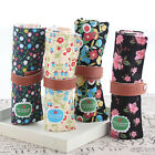 Vintage Floral Design Roll Up Makeup Cosmetic Brush Pen Pencil Case Pouch Bag