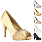 Glamour Damen Pumps High Heels 96963 Satin Strass Abendschuhe 36-41 New Look