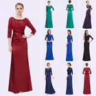 US Women Long Stock Lace Sleeve Formal Evening Gown Prom Cocktail Dress 09882