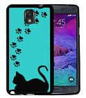 CAT PAWS SILHOUETTE RUBBER CASE FOR SAMSUNG NOTE 8 5 4 3 BLUE