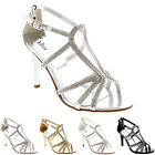 Womens Wedding Bridal Bridesmaid Rhinestone Prom Stiletto Heel Sandals UK 3-9