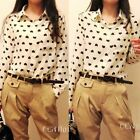 Women's Blouse Chiffon Shirt Sweet Floral Heart Black Peach Long Sleeve Fashion