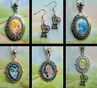 SLEEPING BEAUTY CHARM EARRINGS NECKLACE PENDANT LOCKET DISNEY MALEFICENT