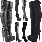 LADIES WOMENS BLACK STILETTO THIGH OVER KNEE HIGH PLATFORM HEEL SUEDE BOOTS SIZE