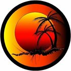Round Tropical Sunset decal Camper RV motor home mural graphic