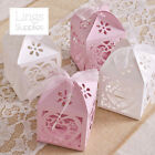 Love Heart Laser Cut Favour Boxes with Ribbon Wedding Party Baby Shower Decor