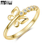 Womens TTstyle 14K Gold GP Butterfly Band Ring Size 6-8 NEW