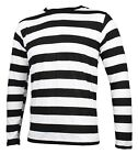 NYC Long Sleeve PUNK GOTH Pierrot Mime Stripe Striped Shirt Black White S M L XL