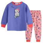 Pyjamas Girls Winter Cotton Knit Pjs (Sz 3-7) Set Lilac Pink Sleepy Cat Sz 3 4 5