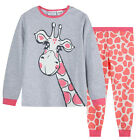 Pyjamas Girls Cotton Knit Pjs (Sz 8-14) Set Grey Peach Giraffe Sz 8 10 12 14