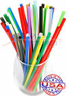 100 JUMBO plastic drinking straws - 7 3/4 x 0.21 Inch - color selectable