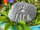 Hand carved, Personalised Pet Memorial stone, dog, cat, grave marker silver