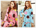 Cartoon Cow Pajama Sets Women's Nightdresses Sleepshirt Sleepwear Nightshirt