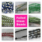 Foiled Glass Swirled Beads Round Oval 4mm to 20mm  Black Blue Silver Green Red