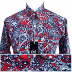 Relco Mens Red Paisley Print Shirt NEW Long Sleeve Mod Retro Vintage Skin 60s