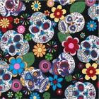 100% Cotton Poplin Skulls Fabric - Black Candy Skulls - 312
