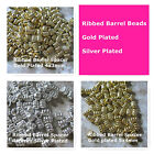 Ribbed Barrel Spacer Beads Silver Plated Gold Plated 4x3mm 4x5mm