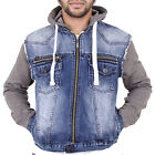 MENS HOODY HOODED DENIM JACKET WITH JERSEY SLEEVES TRENDY RETRO PUNK BY AD ROHO