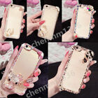 Bling 3D Handmade Diamonds TPU Ultra Thin Clear Soft Gel Case Cover For iPhone