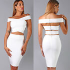 Womens New Sexy 2 Peice Bright White Strap Top Luxe Skirt Set Bandage Dress Hot