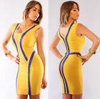 Womens Sext New Yellow Blue Shimmer Deep V Bandage Dress