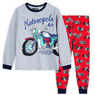 Pyjamas Boys Winter Cotton Knit Pjs (Sz 8-14) Set Grey Motorbike Sz 8 10 12 14