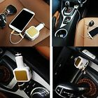 2in1 Retractable2 USB Car Charger With Cable for iphone5/ 5S/ 6 Samsung HTC LG
