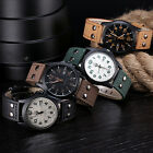 Vintage Classic Men's Waterproof Date Leather Strap Sport Quartz Army Watch image